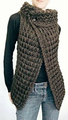Ravelry: the Knit TC Vest pattern by Karen Clements KNITTING PATTERN: This vest is the Knit version of a vest I designed in Tunisian Crochet. A simple knitting pattern worked flat in one piece. I would rate this for at least the advanced beginner. Easy Knitting Patterns, Loom Knitting, Sewing Patterns, Knitting Ideas, Knitting Sweaters, Shawl Patterns, Free Knitting, Tunisian Crochet Patterns, Beginner Knitting Projects