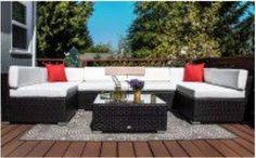 Outdoor 7-Piece Patio Furniture Set Garden Rattan Sectional Sofas Sets Cushions  #Outdoor7PiecePatio