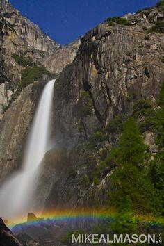 This is a moonbow over Yosemite Falls in Yosemite. I arrived in Yosemite on a very special night, a night when the full moon is bright enough to light up the mist of Yosemite Falls. When this was shot, myself and the other photographers had almost zero visibility. Focus was a matter of trial and error. I was very lucky to witness something so rare and beautiful.