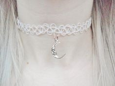 Crescent Moon Space Sci Fi Lunar Planet Galaxy Solar System Pendant Silver White Tattoo Choker Necklace Jewellery Jewelry by Hoodratroughdiamond