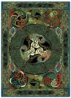 ☮ Mandalas Psychedelic ,  hippie, Indian, illustration, art, design ~ Celtic Ravens | Jen Delyth