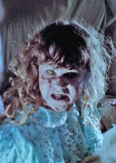 'The Exorcist' . Scary Movies, Horror Movies, Horror Art, The Exorcist 1973, Exorcist Movie, Linda Blair, Famous Monsters, Movie Titles, Vintage Horror