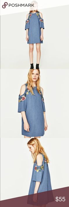 NWT Zara Floral Embroidered Cold Shoulder Dress Above-the-knee length dress. 3/4 length sleeves with off-the-shoulder neckline detail. Round neck. Back opening and button fastening. Embroideries and beads detail. Chambray Denim like cotton. Slightly oversized.   Composition  OUTER SHELL  BODY 100% cotton  EMBROIDERY 100% polyester Zara Dresses Mini