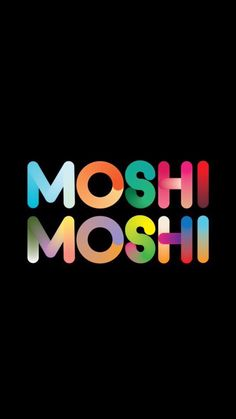 Colourful moshi moshi iphone wallpaper black background