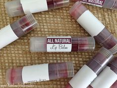 Homemade naturally tinted lip balm plus free printable label. Perfect for women who have dry lips but still want some color. This stuff is super glossy and moisturizing!