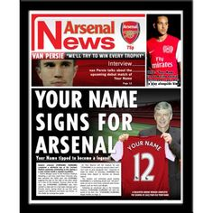 Personalised Arsenal Newspaper Cover in Frame Gifts For Wife, Gifts For Boys, Arsenal Gifts, Newspaper Cover, Van Persie, Arsene Wenger, Contemporary Frames, Arsenal Football, Sports Gifts