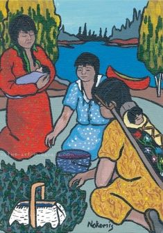 Picking Berries - a painting by Ojibwa artist Nokomis available as a card or print from Native Art in Canada. Aboriginal People, Aboriginal Art, Mohawk People, Selling Eggs, Woodlands School, Farm Women, Native American Women, Indigenous Art, My Heritage