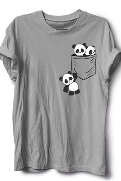 For Panda Lovers Cute Kawaii Baby Pandas In Pocket T-Shirt Giant Panda Fan Art SkizzenMonster This casual funny apparel features three cute playful baby panda bears in cutest kawaii anime style drawing playing around your fake breast pocket