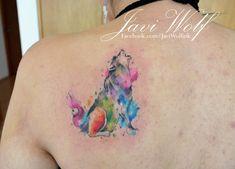 Watercolor Wolf Tattoo. Tattooed by @Javi Wolf