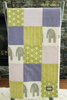 Baby Blanket, Modern Baby Quilt - Purple, Grey and Green