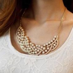 Elegant Faux Pearl Embellished Fake Collar Necklace For Women Necklaces | RoseGal.com Mobile