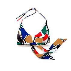 Otis Top in Noon Print. Shop at www.bodymaps.pl #swimwear #beachwear #swimsuit #bathing #suit #bright #yellow #green #blue #red #unique #black #white #contrast #top #vshape #wide #ribbons #vivid #big #print #youngdesigner #newbrand #bodymaps