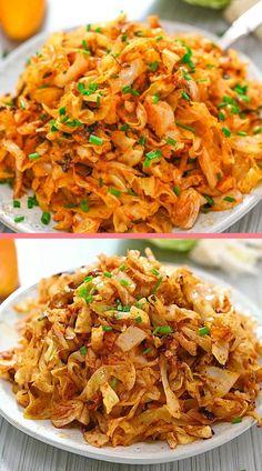 Tasty Vegetarian Recipes, Easy Healthy Recipes, Easy Meals, Tasty Vegetable Recipes, Cooked Cabbage Recipes, Amazing Food Videos, Tasty Videos, Amazing Food Recipes, Vegan Side Dishes