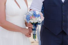 White orchids and blue hydrangeas