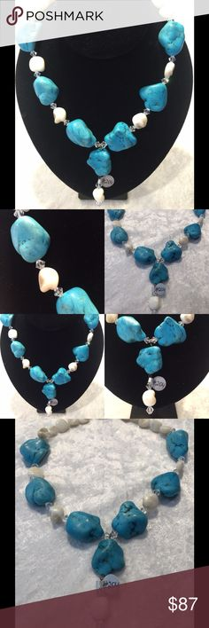 Turquoise and white turquoise stone necklace Gorgeous large blue turquoise and white turquoise necklace made by hand by a local designer. Finished with silver clasp, original price $179.00 Jewelry Necklaces