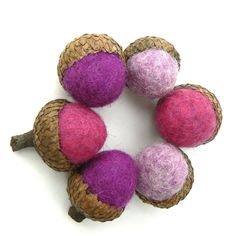 Purple Felted Acorns, 6 Wool Acorns, Christmas Gift, office worker, Stocking Stuffer, lavender, lilac by Fairyfolk on Etsy
