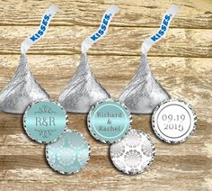 A personal favorite from my Etsy shop https://www.etsy.com/ca/listing/245719078/hershey-kisses-labels-silver-and-blue