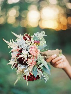 Dahlias, dusty miller and astilbe wedding bouquet