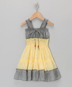Lele for Kids Gray & Yellow Country Peasant Dress - Toddler & Girls   zulily