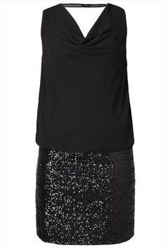 Black 2 In 1 Sequin Skirt Dress