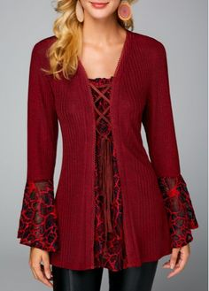 Fashion New Autumn Burgundy Turn down Collar Faux Two Piece Sweater Casual Loose Print Patchwork Long Sleeve Knit Pullover Add an 'underlayer'!trendy tops for women online on saleShop Womens Fashion Tops, Blouses, T Shirts, Knitwear Online Cardigan Sweaters For Women, Red Sweaters, Cardigans For Women, Sweaters For Girls, Stylish Tops For Girls, Trendy Tops For Women, Diy Vetement, Trendy Fashion, Clothes Refashion