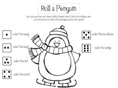 Dice game...first one to colour the whole penguin wins...printable