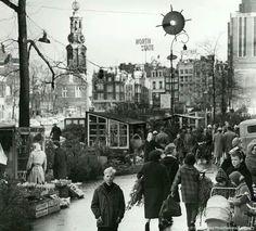 Kerstbomen kopen op de bloemenmarkt 1964.
