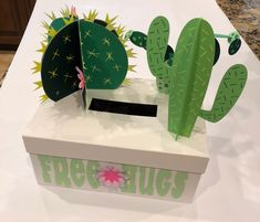Cacti Valentine's Day Box. This was created with the Cricut Maker and Cricut Des… Cacti Valentine's Day Box. This was created with the Cricut Maker and Cricut Design Space. I used the Cactus Love Images. Top Image of Box Valentine Boxes For School, Kinder Valentines, Valentines Games, Unicorn Valentine, Valentines For Boys, Valentine Day Crafts, Valentine Nails, Valentine Ideas, Valentine Flowers