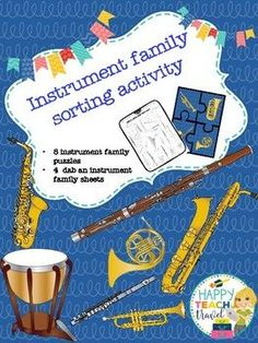 This is an instrument family puzzle group activity for the class. Mix up the puzzle pieces, pass them out to students and let them figure out he puzzle. The second activity is a dab a note worksheet. There is one for brass, woodwinds, percussion nd strings.