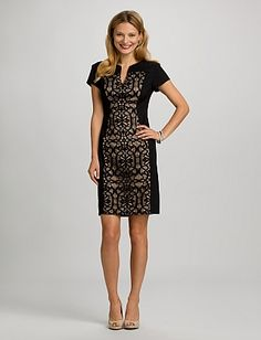 Lace Panel Dress Lace makes everything it touches that much more femme, as evidenced in what is now our new favorite LBD. Black lace panel with beige lining down middle front only. Notch neck on front only.   Shell: 96% nylon/4% spandex Lining: 100% polyester