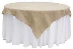 "Burlap+72""+Square+Table+Overlay+Topper+-+Natural+Tan"