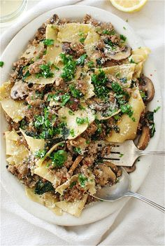 Broken Pasta with Kale, Mushrooms and Sausage by bevcooks #Pasta #Kale #Sausage