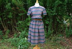 Vintage 1980s Multi Striped Midi Dress. Southwest style by blissjoybull, $65.00