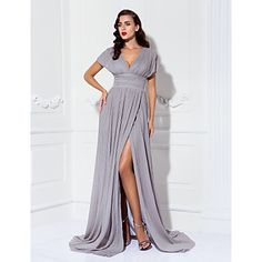 TS+Couture®+Formal+Evening+/+Military+Ball+/+Black+Tie+Gala+Dress+-+Furcal+/+Elegant+Plus+Size+/+Petite+Sheath+/+Column+V-neck+Sweep+/+Brush+Train+–+USD+$+109.99