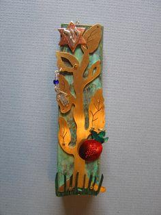 Tree of Life Mezuzah, brass, copper, silver, patina,  by Ruth Shapiro. www.growingupjewish.com