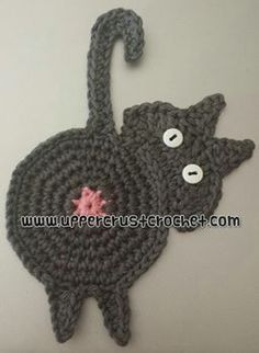 Peeking Cat Butt Coaster:  This pattern and the pictures shown here are copyrighted.  You may sell items you make using this pattern, but please put the link  to this pattern in your listing.  http://www.UpperCrustCrochet.com