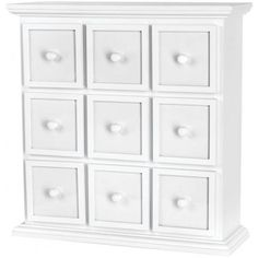 """White 9-Drawer Fashion Furnishings Apothecary Chest 20""""Hx19.5""""Wx6.5""""D FF2220 - Scrapbook Organizers"""