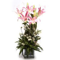 Midnight Special flower gifts elegantly decorated with lilies #flowers in glass vase. Pick it now and send your mom