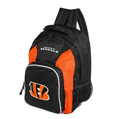 Haul your gear with style with this awesome backpack from the Cincinnati Bengals, with an embroidered logo and felt applique team emblem on the back. Officially licensed by the NFL, it features a spacious main compartment, padded adjustable back straps, large zippered back pouch with inner pockets, two mesh side pouches and durable nylon construction for quality function and comfort. Height: 16 inches Width: 12 inches Depth: 5 inches
