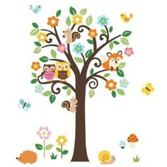 Giant Peel & Stick Nursery Decal - Forest Animals & Flowers Tree for Boys & Girls (Tree Assembles 4.7 Feet Tall). Amazon. $18.99