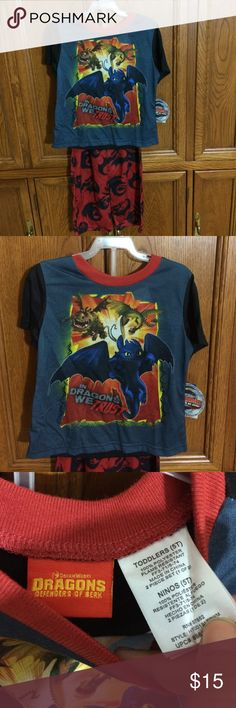 """Dragons"" boys 5T PJ set New with tags. Size 5T. Short sleeve shirt and pant set. *ship same/next day *no holds/trades *pet free *smoke free home Pajamas Pajama Sets"