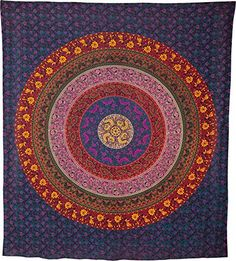 Luna Bazaar Leya Bohemian Mandala Tapestry, Wall Hanging, and Bedspread (Large, 7 X 8 Feet, Blue, Purple, and Red, 100% Cotton, Fair Trade Certified) Cultural Intrigue http://www.amazon.com/dp/B00MMLEQR8/ref=cm_sw_r_pi_dp_Hz6Vvb1AYCHGW