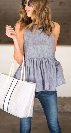 #summer #outfits Grey Peplum Top + Skinny Jeans + White Tote Bag