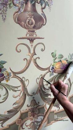 Creative Wall Painting, Wall Painting Decor, Baroque Decor, Ornaments Design, Mural Art, Arabesque, Islamic Art, Pattern Art, Painting Techniques