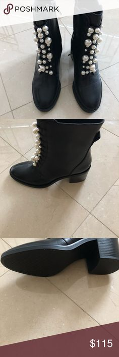 Zara black leather boots with pearls, brand new Black leather boots with pearls Zara Shoes Ankle Boots & Booties