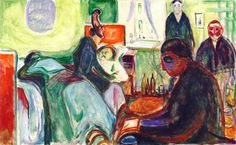 "dappledwithshadow: "" The Death of the Bohemian Edvard Munch Munch-Museet - Oslo (Norway) Painting - oil on canvas Height: 65 cm in.), Width: 104 cm in. Edvard Munch, Edouard Manet Paintings, Monet Paintings, Amedeo Modigliani, Tom Thomson Paintings, Karl Schmidt Rottluff, Winslow Homer Paintings, Le Cri, Oil Painting Gallery"