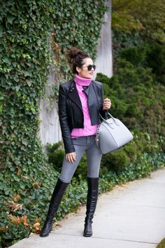sweater + moto jacket + skinnies and boots