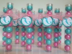 Mermaid Party Gumball tube Party Favors, Set of 12 with personalized Tags and Ribbon by EnchantedKidsParties on Etsy https://www.etsy.com/listing/233642003/mermaid-party-gumball-tube-party-favors