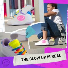 Neon translucent patterns on white sneaker heelys are sure to make you stand out! Shoe Releases, Adidas Stan Smith, Adidas Sneakers, Neon, Make It Yourself, Patterns, Collection, Shoes, Style
