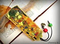 Marcapaginas madera decoupage Klimt Beso por elrinconcitodezivi